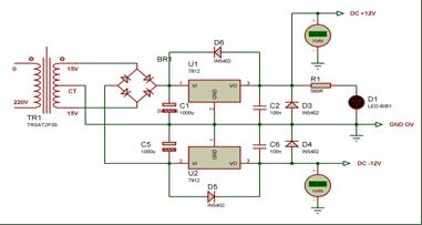 Skematik rangkaian regulator +12V dan -12V