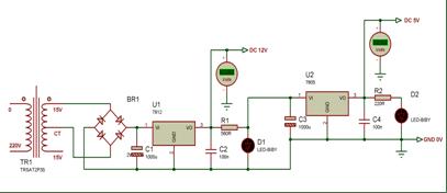 Skematik rangkaian regulator +12V dan +5V