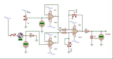 Skematik rangkaian pengkondisi sinyal arus